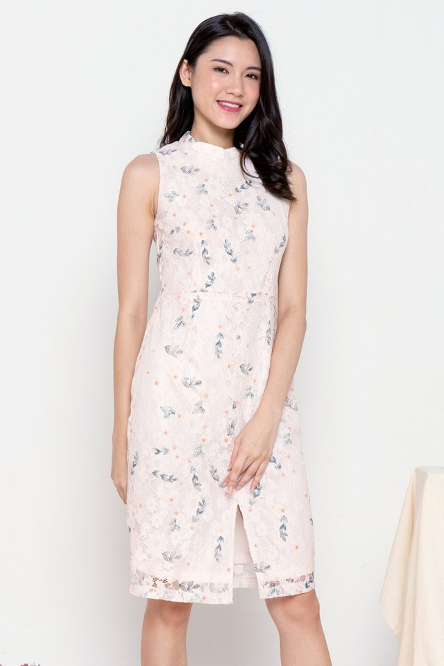 Liana Detachable Collar Lace Dress (Pink)