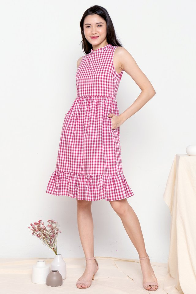 Rue Detachable Collar Gingham Dress (Red)