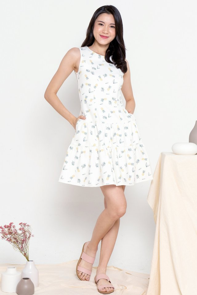 Pineapple Pocket Tier Dress (White)
