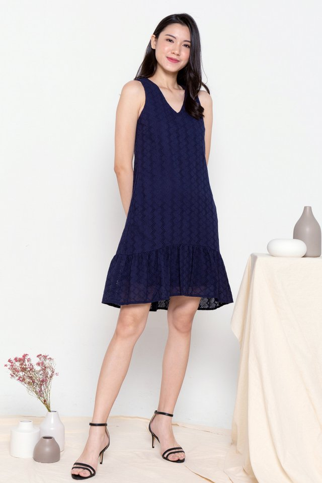 Dion Eyelet Hi-Low Skater Dress (Navy Blue)