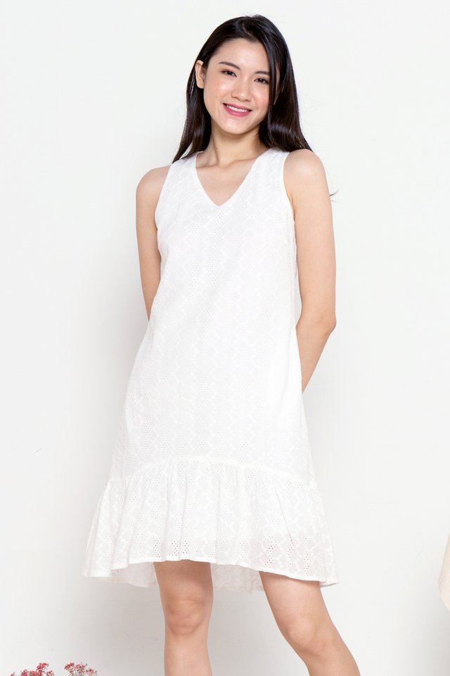 Dion Eyelet Hi-Low Skater Dress (White)