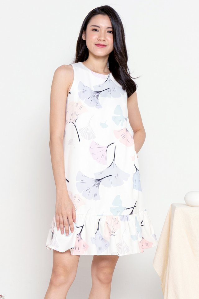 [BACKORDER] Ginko Leaves Printed Dress (White)