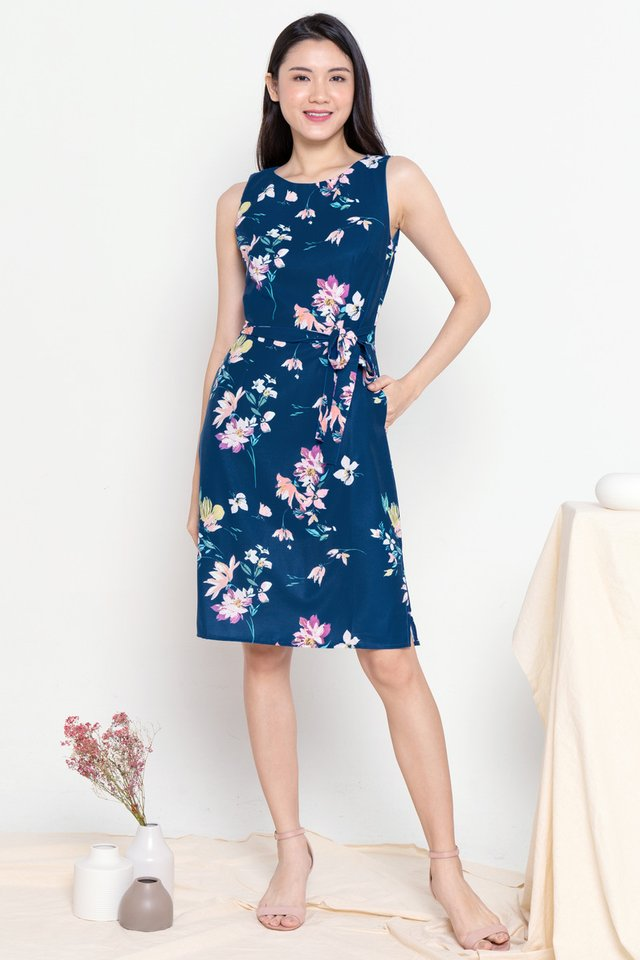 Hana Floral Midi Dress with Sash (Navy Blue)