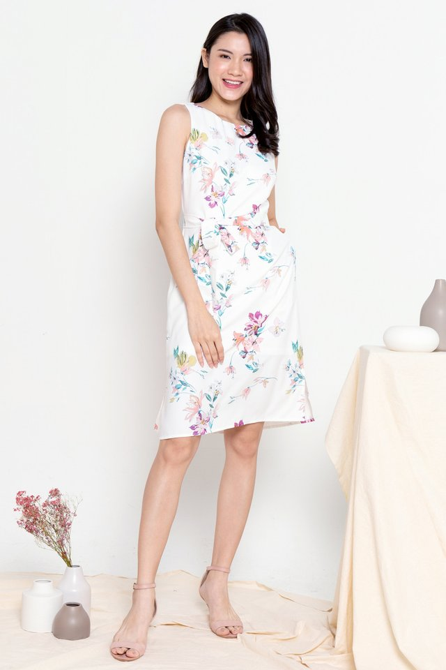Hana Floral Midi Dress with Sash (White)