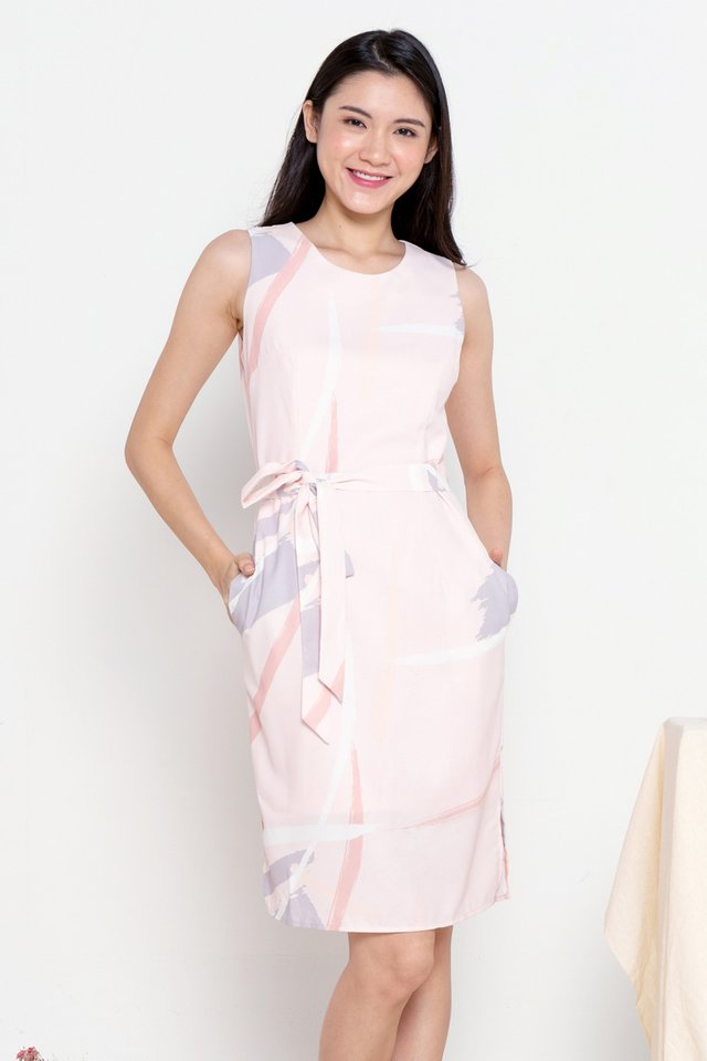 Eladia Abstract Print Midi Dress (Pink)