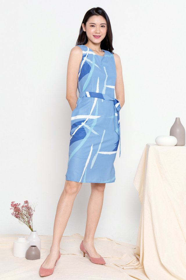 Eladia Abstract Print Midi Dress (Blue)