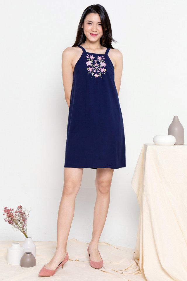 Viola Embroidery Floral Bib Dress (Navy Blue)