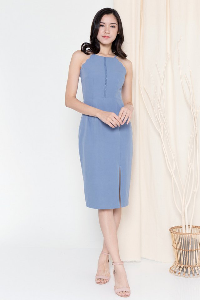 Fannie Scallop Hem Dress (Blue)