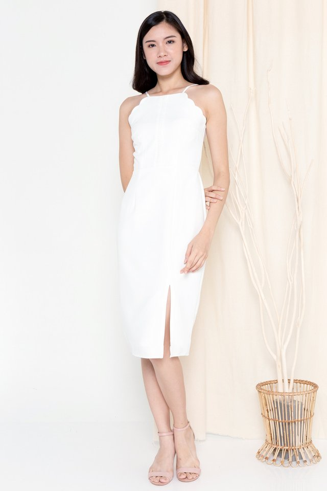 Fannie Scallop Hem Dress (White)