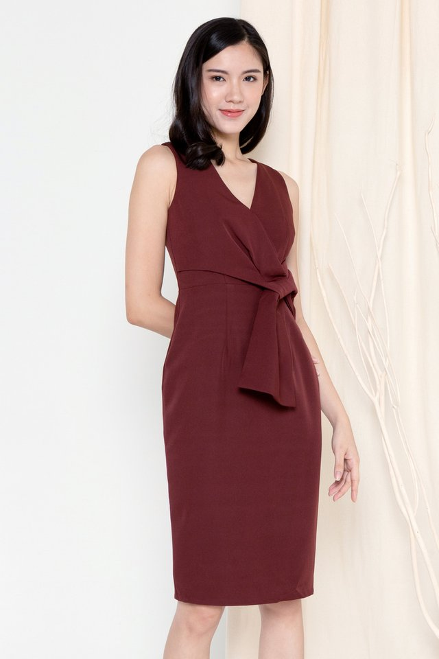 Riley Ribbon Waist Tie Work Dress (Wine)