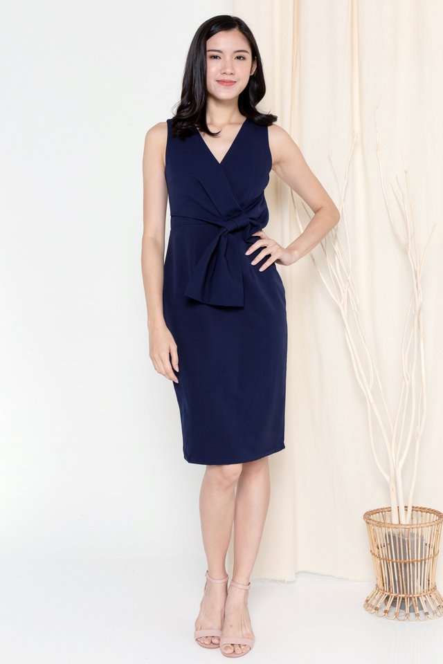 Riley Ribbon Waist Tie Work Dress (Navy Blue)
