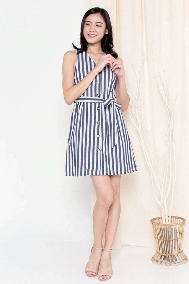 Talia Button Linen Dress (Stripes)
