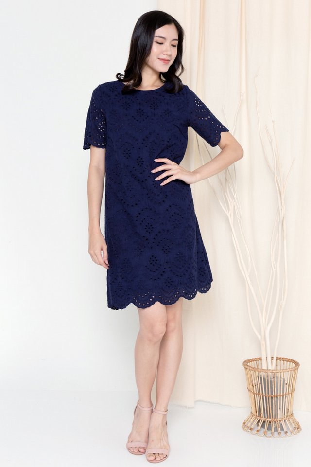 Mona Eyelet Sleeved Dress (Navy Blue)
