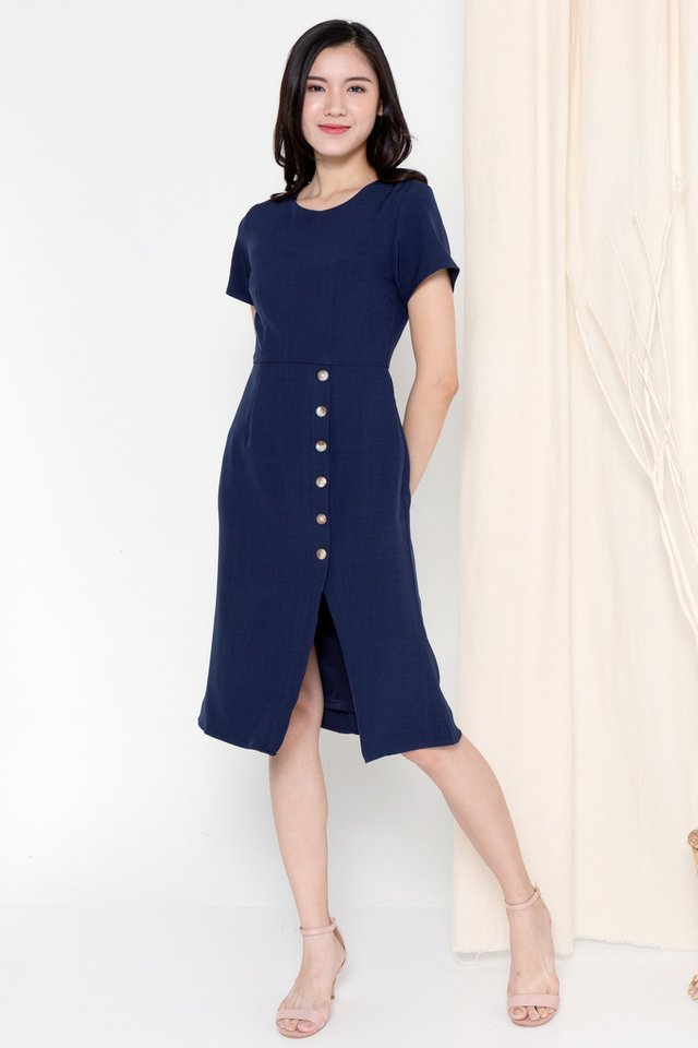Hazel Button Sleeved Dress (Navy Blue)