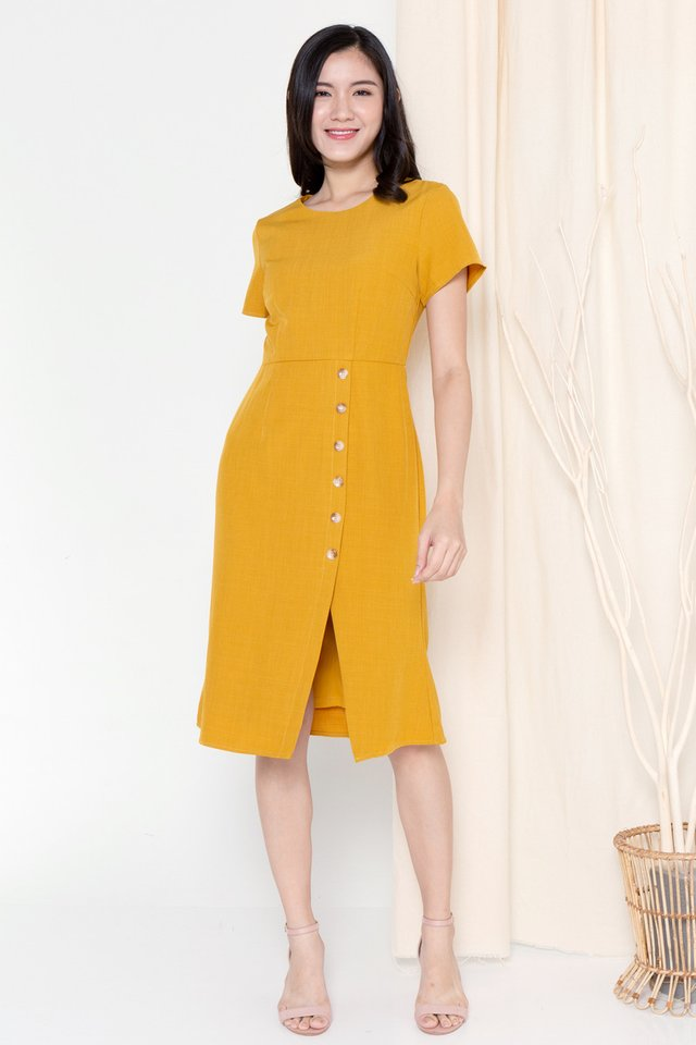 Hazel Button Sleeved Dress (Mustard)