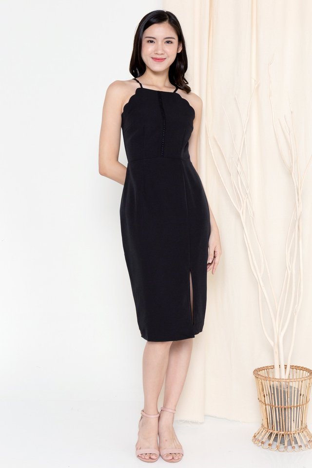 Fannie Scallop Hem Dress (Black)