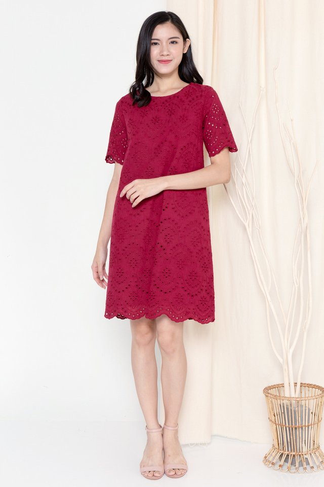 Mona Eyelet Sleeved Dress (Wine)