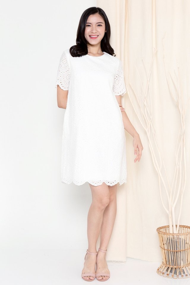 Mona Eyelet Sleeved Dress (White)