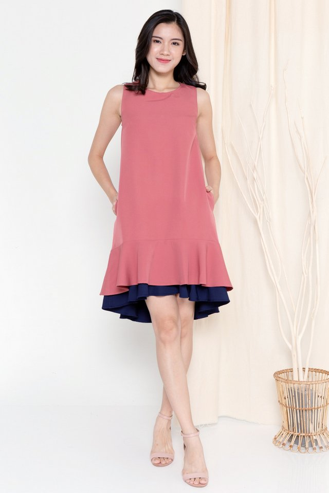 Juliya Reversible Dual Hem Dress (Tea Rose/Navy Blue)