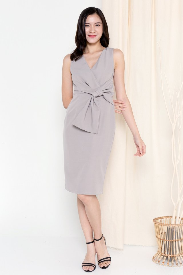 Riley Ribbon Waist Tie Work Dress (Grey)