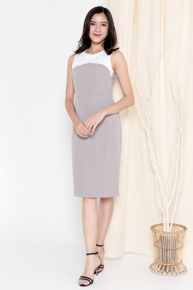 Pansy Colourblock Work Dress (Grey)