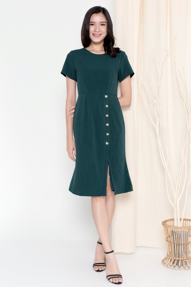 Hazel Button Sleeved Dress (Forest Green)