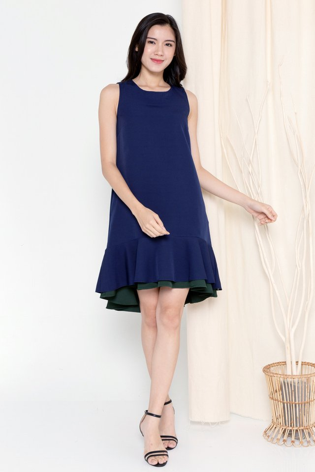 Juliya Reversible Dual Hem Dress (Navy Blue/Forest Green)