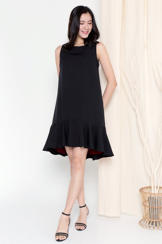 Juliya Reversible Dual Hem Dress (Black/Wine)