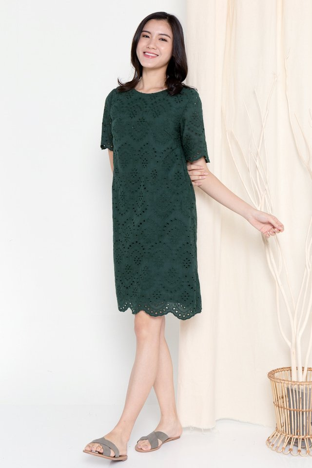Mona Eyelet Sleeved Dress (Forest Green)