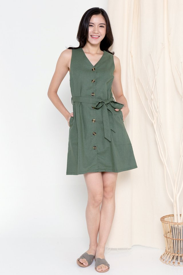 Talia Button Linen Dress (Olive)