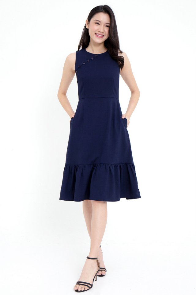Mariette Button  Removable Collar Mermaid Dress (Navy Blue)