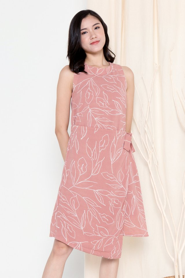 Marica Tie Sash Floral Dress (Pink)