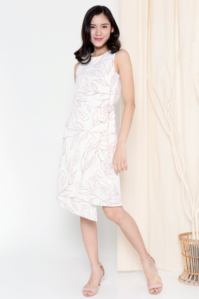 Marica Tie Sash Floral Dress (Cream)
