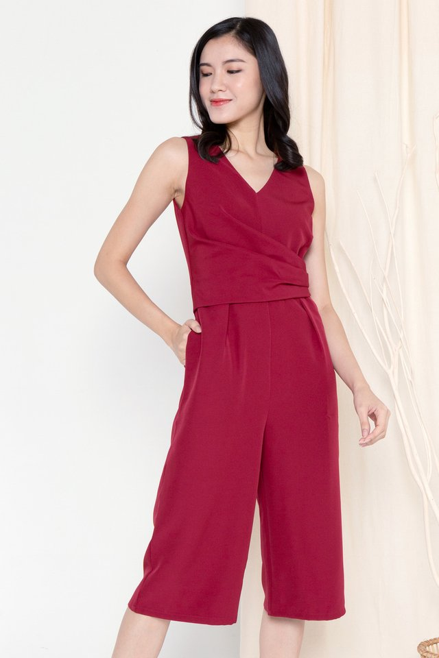 Meghan Folded Waist Jumpsuit (Wine)