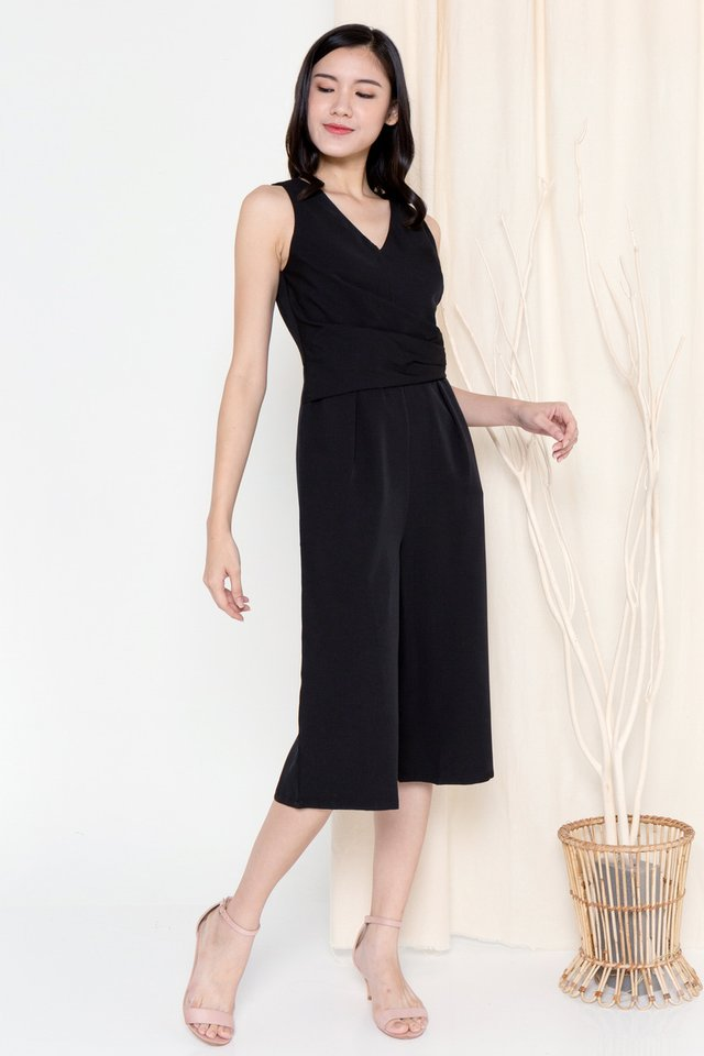 Meghan Folded Waist Jumpsuit (Black)