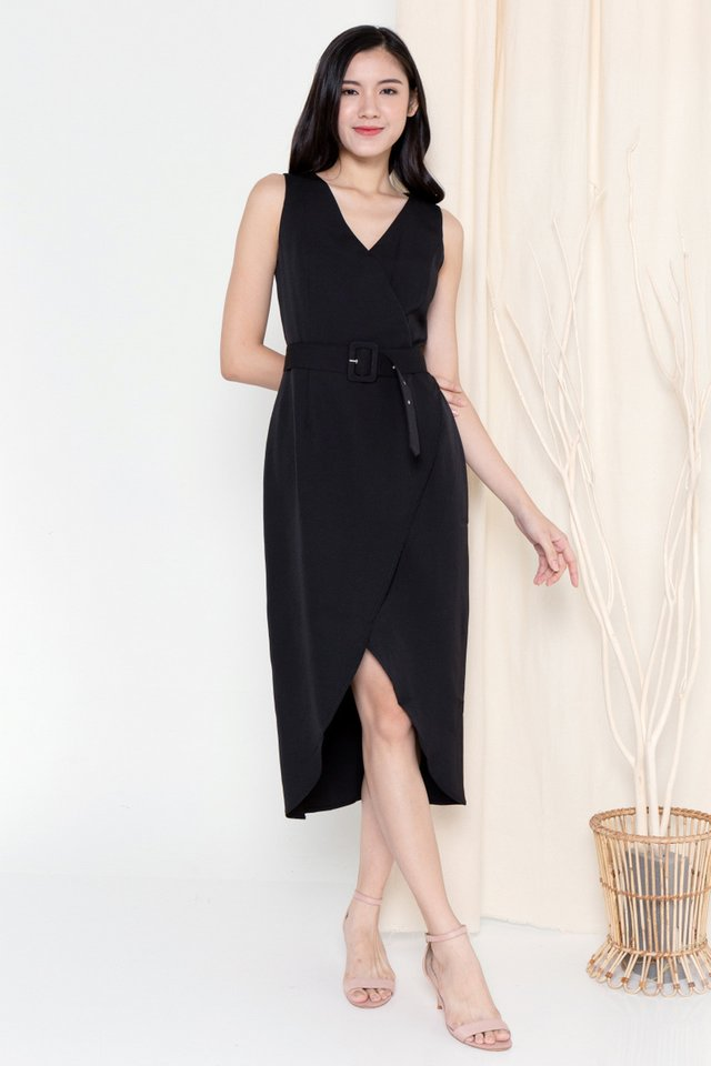 Claire Criss Cross Overlap Dress (Black)