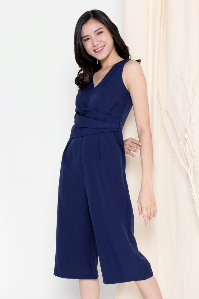 Meghan Folded Waist Jumpsuit (Navy Blue)
