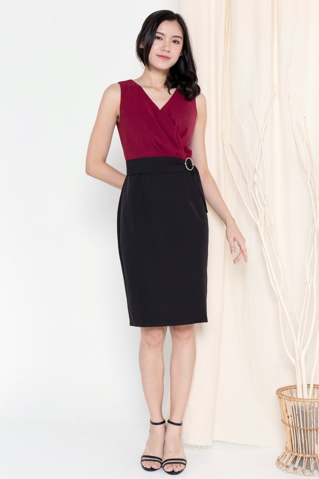 Jasmine Criss Cross Panel Dress (Wine)