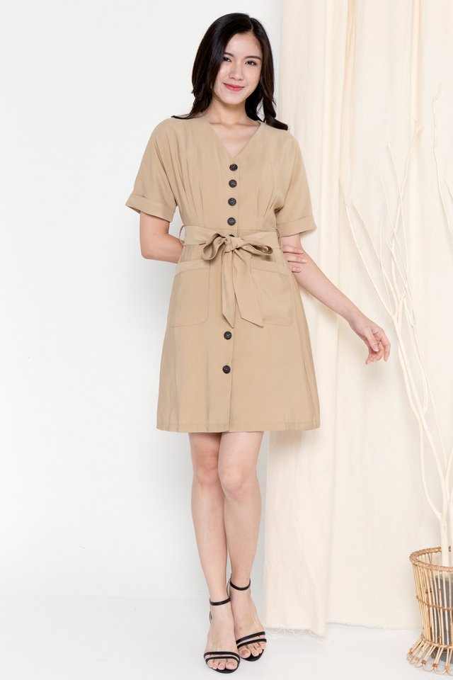 Clarette Batwing Dress (Khaki)