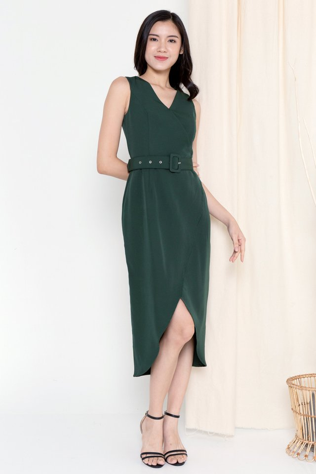 Claire Criss Cross Overlap Dress (Forest Green)