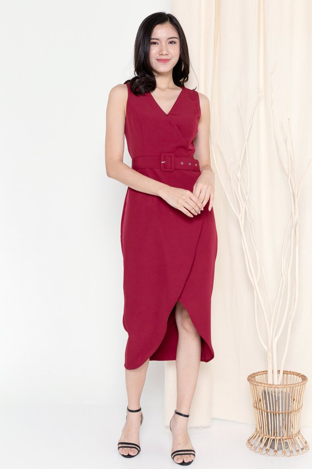 Claire Criss Cross Overlap Dress (Wine)