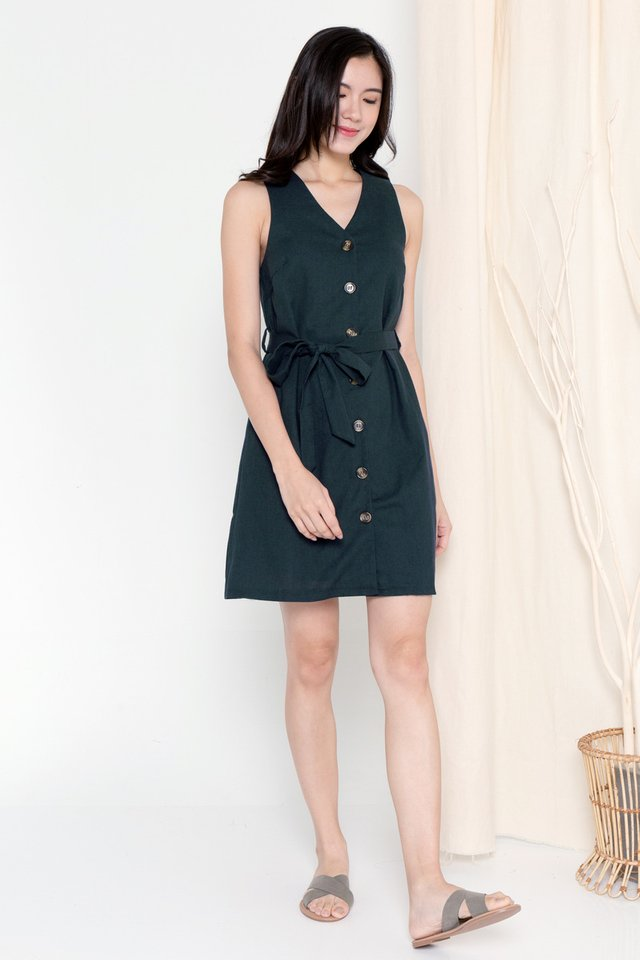 Talia Button Linen Dress (Dark Teal Green)