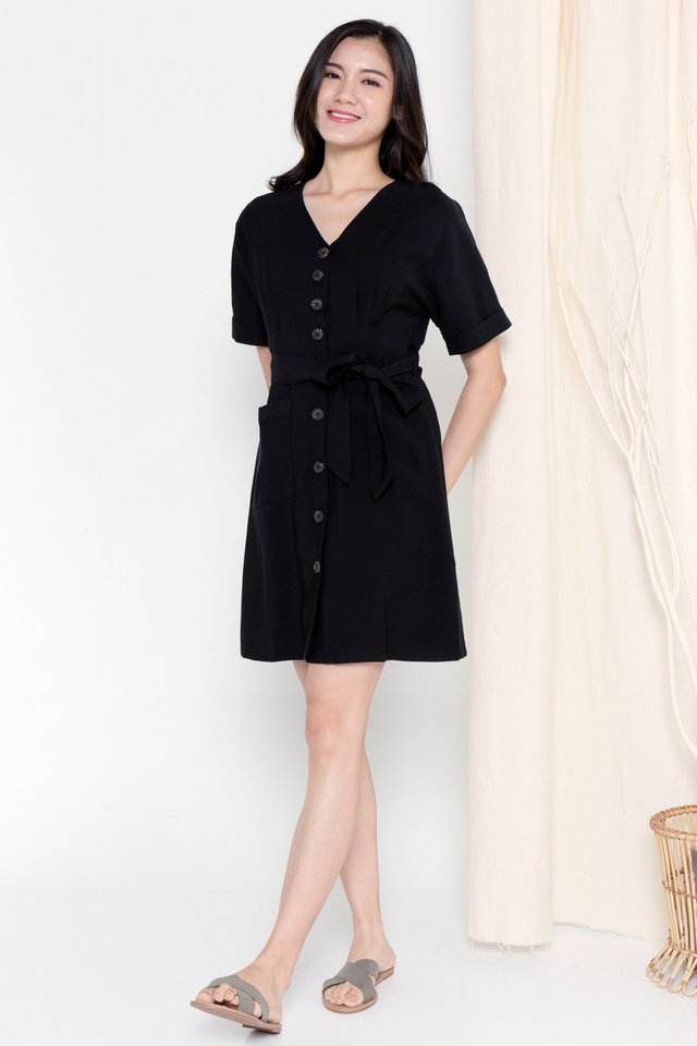 Clarette Batwing Dress (Black)