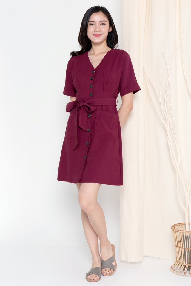 Clarette Batwing Dress (Wine)