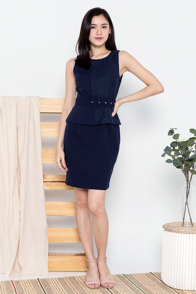 Aileen Peplum Work Dress (Tweed Navy)