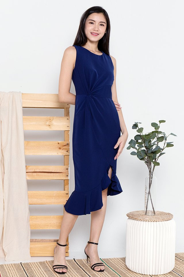 Erin Waist Knot Midi Dress (Navy Blue)