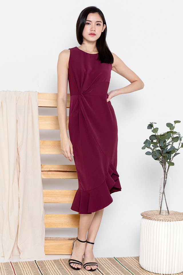 Erin Waist Knot Midi Dress (Wine)