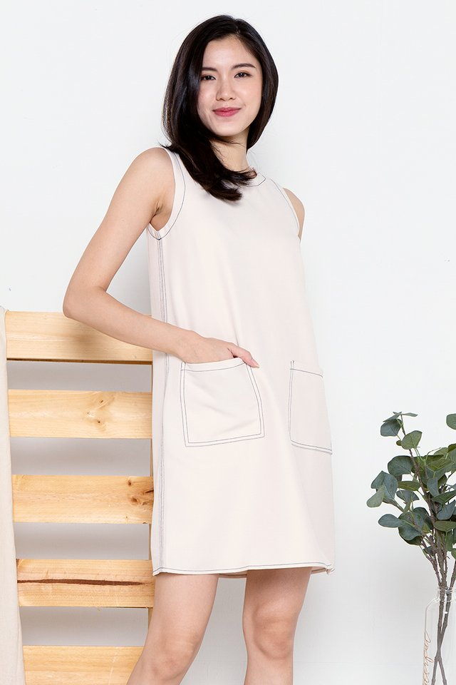 Sandra Stitch Sheath Dress (Cream)