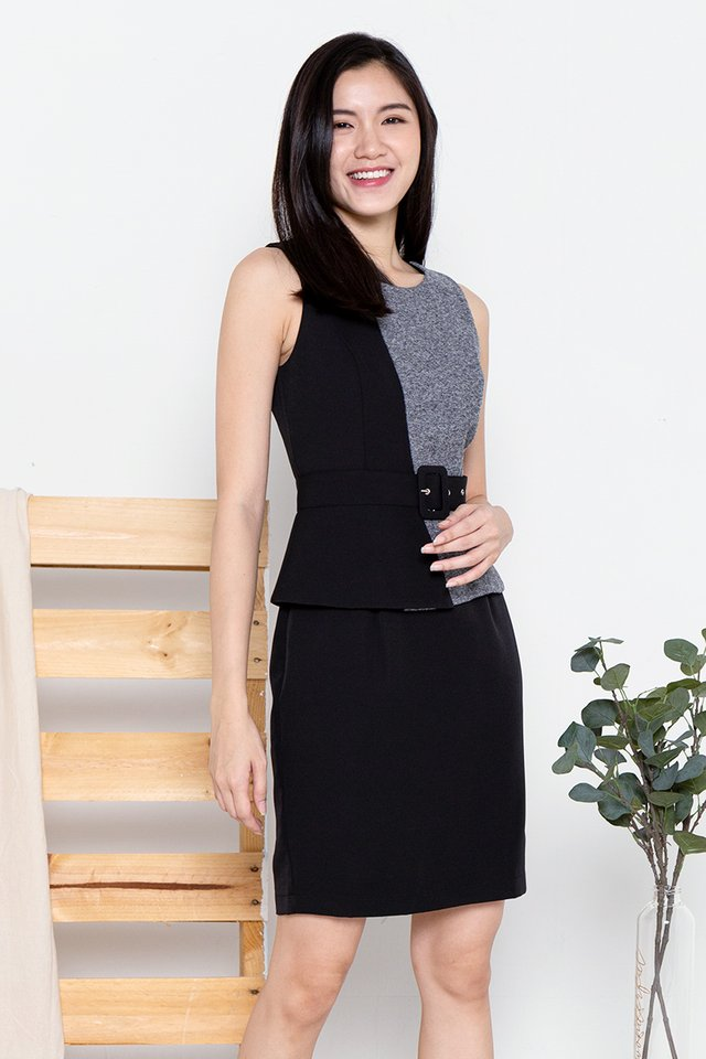 Aileen Peplum Work Dress (Tweed Black)