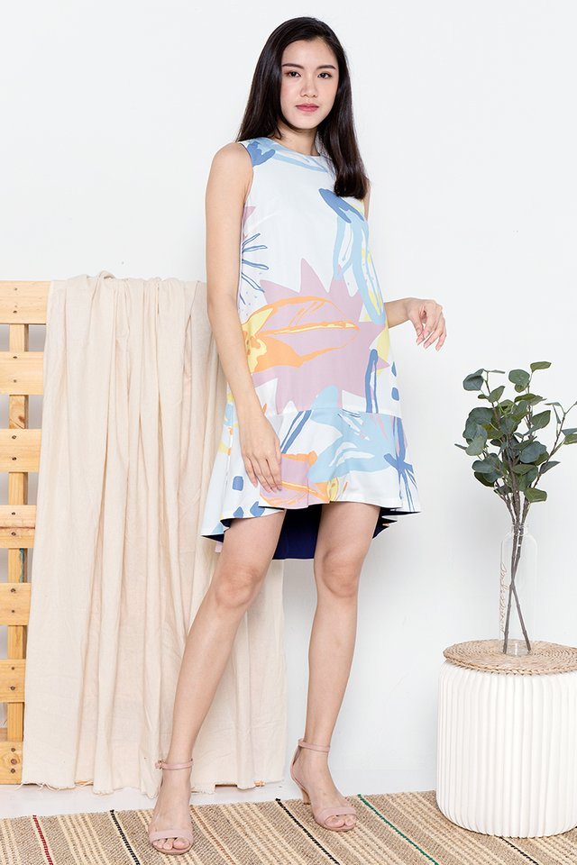 Riddle Reversible Abstract Mermaid Dress (White)